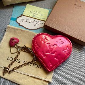 🌺LV Rose Pop  Monogram Vernis Heart Coin Purse🌺